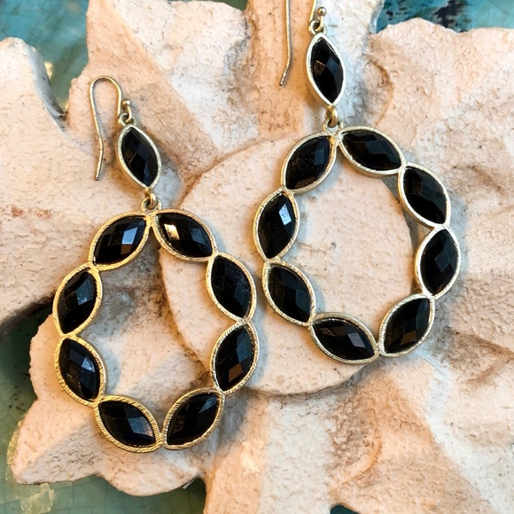 D & A Designs Jewelry - Black jeweled dangle earrings